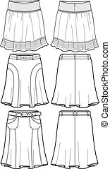 lady middle skirts