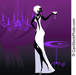 lady-night in white - on an abstract purple background is...