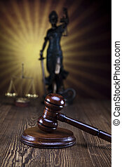 Lady of justice and gavel, Law