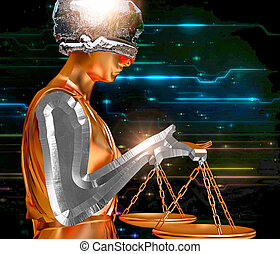 Lady of justice - Themis holding scales isolated on...