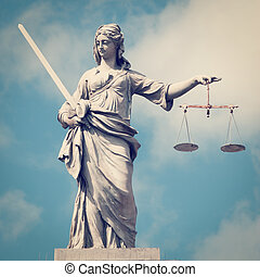 Lady of Justice - Statue of Lady Justice at Dublin Castle in...