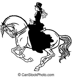 lady on a horse black white