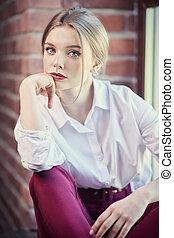 lady on a window sill - Beauty, fashion portrait. Elegant ...