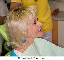 Lady on dental examination