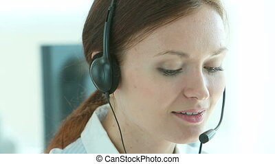 Lady on reception - Close-up of a beautiful lady on...