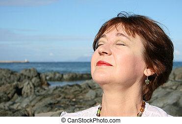 Lady on the beach