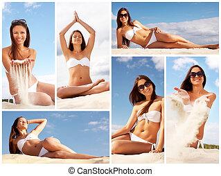 Lady on the beach - Collage of female in white bikini...