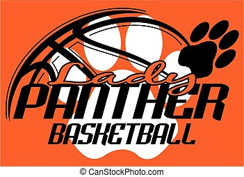 lady panther basketball team design with paw print for...
