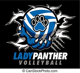lady panther volleyball design with claw holding ball and...