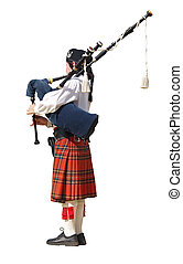 Lady Piper - A woman playing the pipes during a competition...