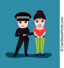 Lady Police Arrested a Woman Vector Illustration