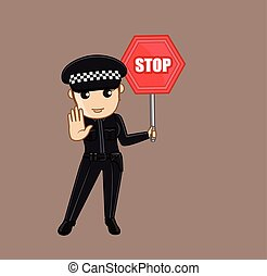 Lady Police Showing a Stop Sign