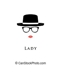Lady portrait of glasses and hat. - Vector illustration lady...