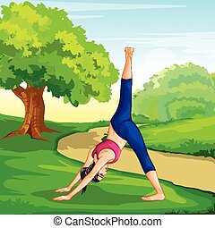 Lady practising yoga for wellness - vector illustration of...