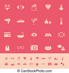 Lady related item color icons on pink background