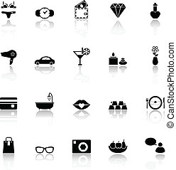 Lady related item icons with reflect on white background