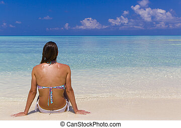 Lady Relaxing in Maldives