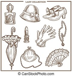 Lady retro clothes and woman vintage fashion accessories vector sketch icons