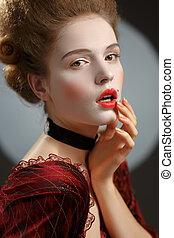 lady., século, imagem, jovem, décimo oitavo, mulher,...