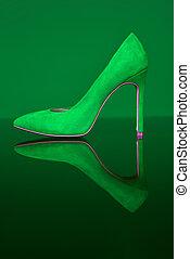 lady., scarpe, look., donne, pantofola, elegante, sera, verde, scarpa, shoe., store., style., heels.