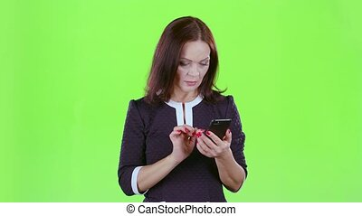 Lady scolded the phone with her boyfriend. Green screen -...