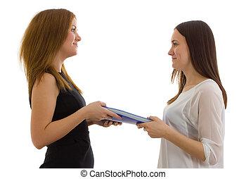 Lady sends a folder