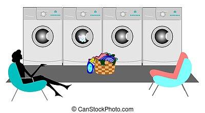 laundromat - lady sitting in laundromat doing her washing