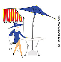 outdoor cafe - lady sitting on chair at outdoor cafe under...