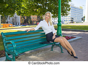 Lady sitting on the bench