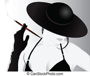 Lady smoking a cigarette