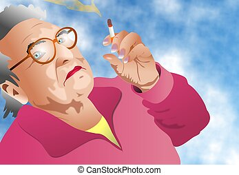 Lady Smoking - Lady smoking illustration.