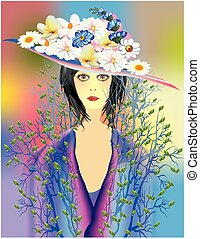 Lady spring hat with flowers