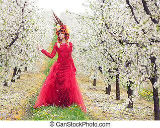 Lady Spring in the cherry orchard