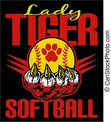 lady tiger softball team design with claw holding a ball for...