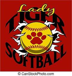 lady tiger softball team design with ball and paw print...