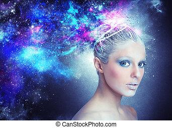 Lady universe - Woman shines and glows like a star