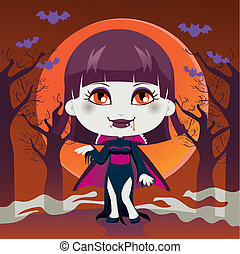 Lady Vampire - Cute little girl with Lady Dracula vampire...