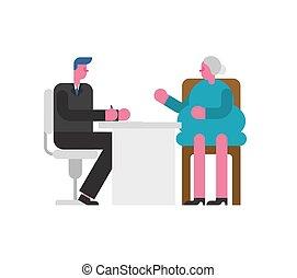 lady., vieux, pensioner., candidat, illustration, patron, entrevue, métier, vecteur, grand-mère., employé, homme affaires, emploi, écouter