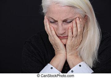 lady., vieux, triste