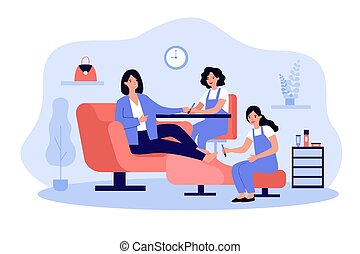Lady visiting beauty salon for manicure and pedicure. Nail technicians and female client. Vector illustration for beauty care, industry, business concept