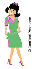 lady waitress in green apron