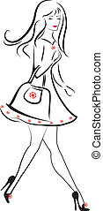 Lady walking to shopping vector
