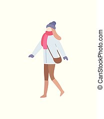 Lady Walking Wearing Warm Clothes Carrying Bag