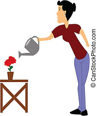 lady watering her roses