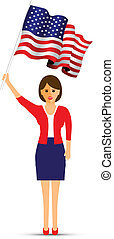 lady waving her usa flag