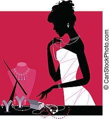 Lady wearing accessories - Vector illustration of a lady ...