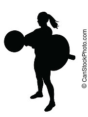 Lady Weight Lifter with Weights at Breast Height Silhouette