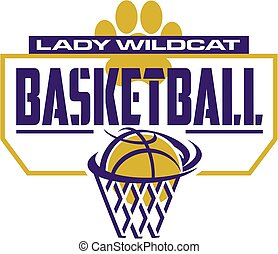 lady wildcat basketball team design with paw print and...