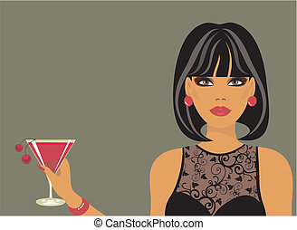 Lady with a cocktail in hand