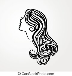 Lady with a long hair portrait
